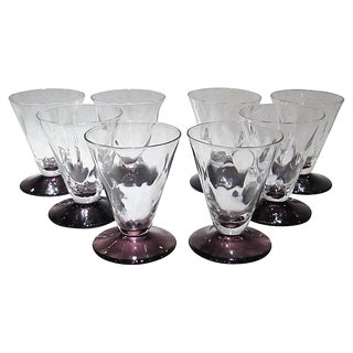 Vintage Amethyst Footed Cordials - Set of 8 For Sale