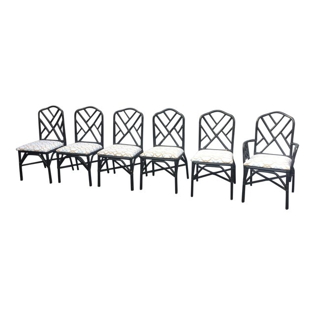 Vintage Faux Bamboo Chippendale Dining Chairs - Set of 6 - Image 1 of 11