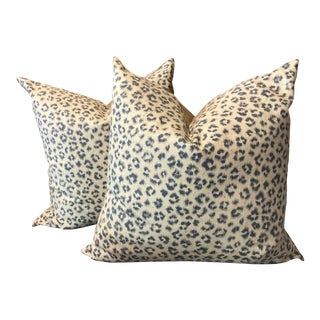 Blue , White and Grey Linen Pillows - a Pair
