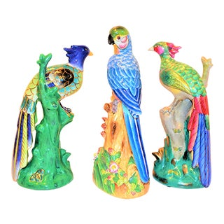 1970s Vintage Majolica Parakeet & Pheonix Figurines - Set of 3 For Sale