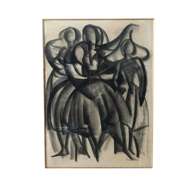 Framed Cubist Charcoal Painting - Image 1 of 6