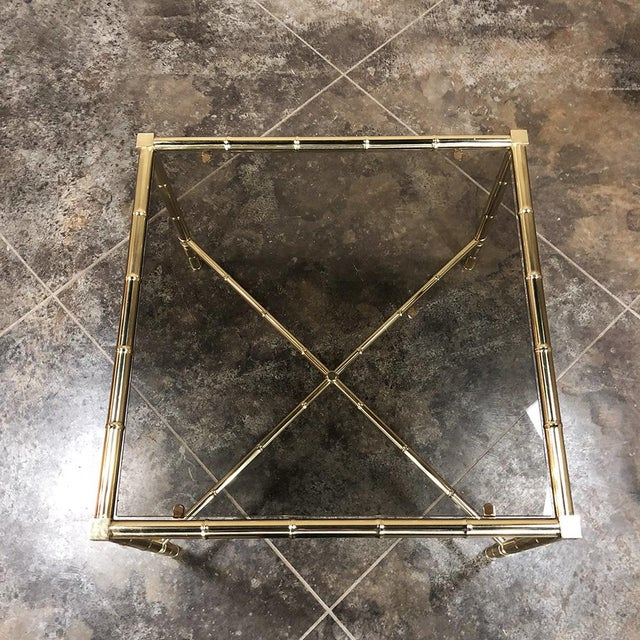 Mid Century Brass Smoked Glass Top End ~ Coffee Table For Sale - Image 10 of 12