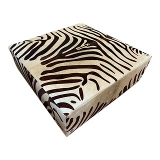 Vintage Painted Cowhide Ottoman For Sale
