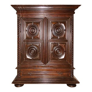 1870's Dutch Wooden Kas With Paneled Doors and Bull's Eye Motif For Sale