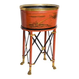 Chinoiserie Red Tole Brass Gallery Jardiniere/Planter on Regency Style Lion Feet Stand For Sale