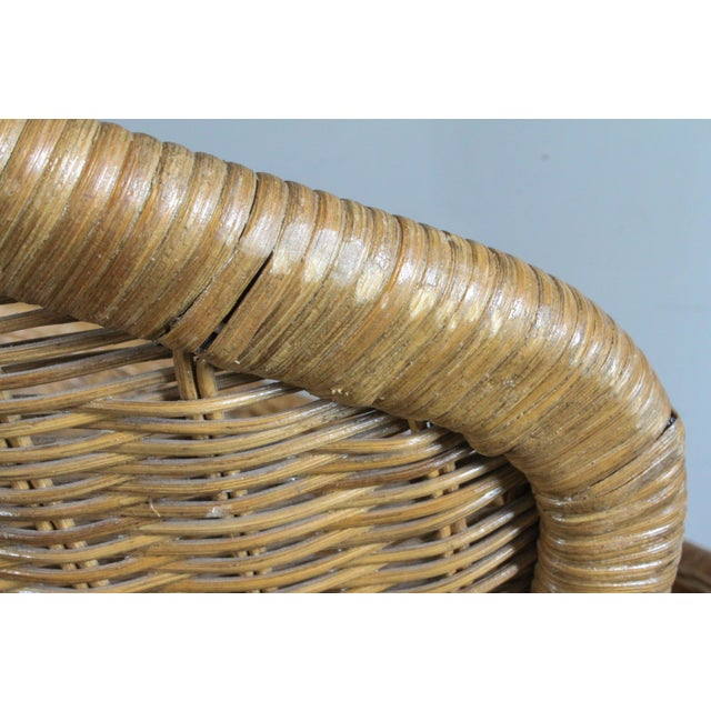 """2000 - 2009 Salterini Style Whicker """"Orbit"""" Shell Chair For Sale - Image 5 of 10"""