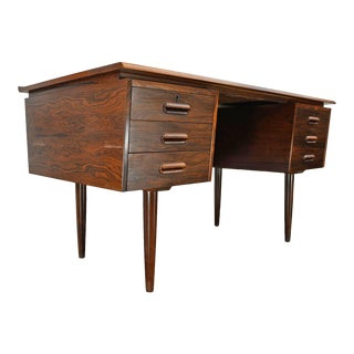 Danish Modern Rosewood Executive Desk For Sale