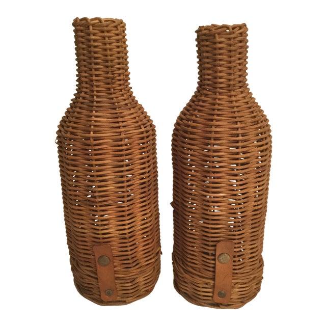 1970s Primitive Wicker Wine Bottle Basket Holders - a Pair For Sale