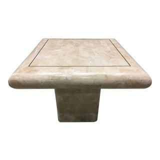 Maitland-Smith Tessellated Fossil Stone Pedestal Table For Sale