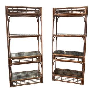 20th Century Chippendale Bamboo, Rattan and Glass Etageres - a Pair For Sale