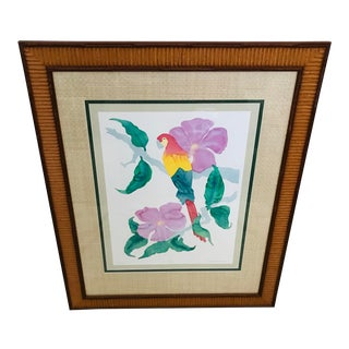 """Vintage Linda Whittemore """"Amazon I"""" Framed/Matted Watercolor Painting 39/100 For Sale"""