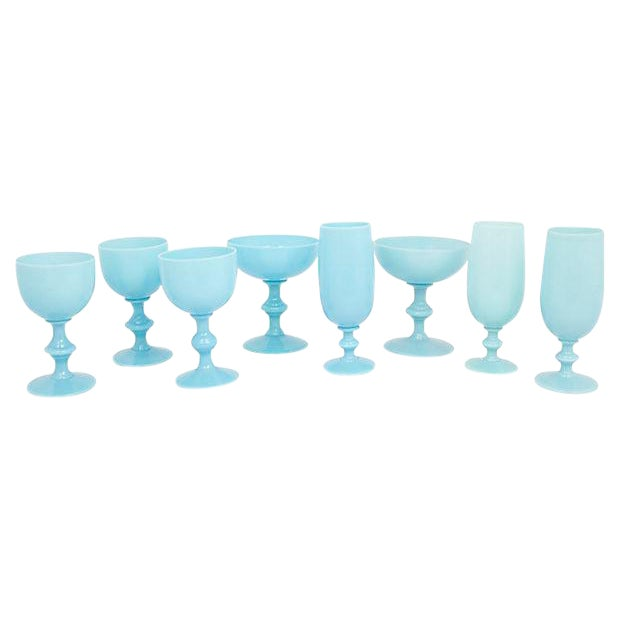 French Opaline Stemware, S/8 For Sale