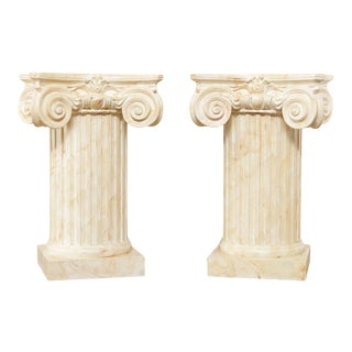 Neo-Classical Style Custom Faux Painted Pair Corinthian Column Pedestals For Sale
