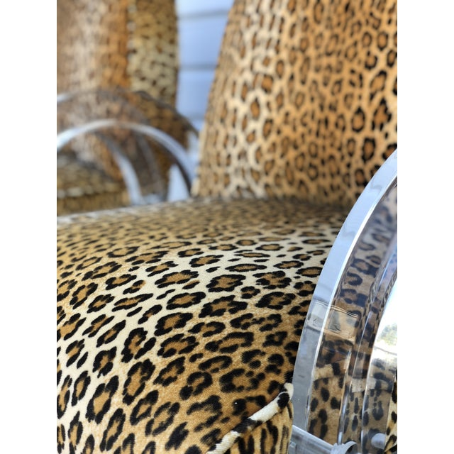 Late 20th Century Charles Hollis Jones for Pace Leopard Print Waterfall Chairs - a Pair For Sale - Image 5 of 7