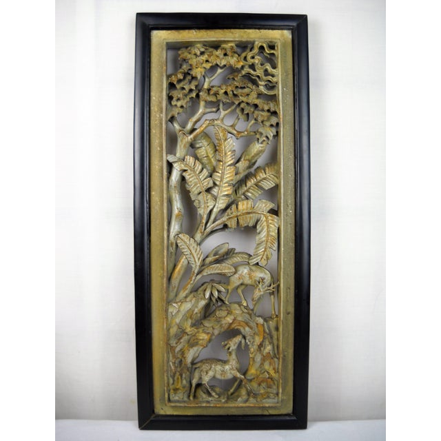 Asian Carved Wood Panels - A Pair - Image 4 of 8