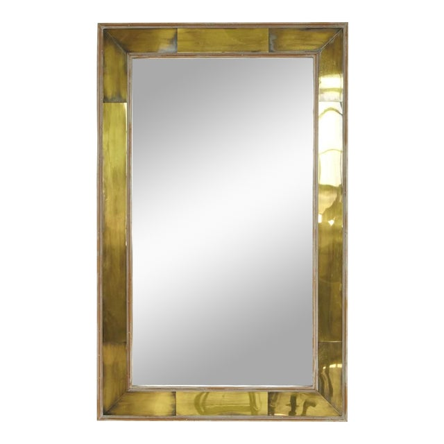 Exquisite Modern Wall Mirror With Lacquered Brass Inlays And White