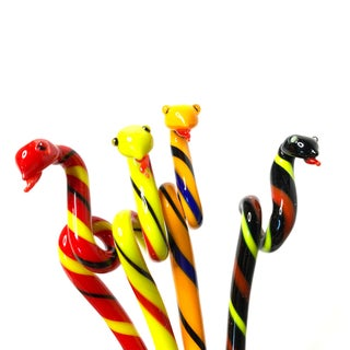 1980s Vintage Piece of Colorful Art Glass, Snake Shaped Swizzle Stick / Cocktail Stirrers Preview