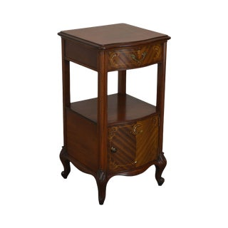 R. J. Horner Antique Marquetry Inlaid Mahogany Serpentine Nightstand For Sale