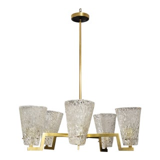 Sculptural Brass and Glass Six-Arm Hanging Fixture For Sale