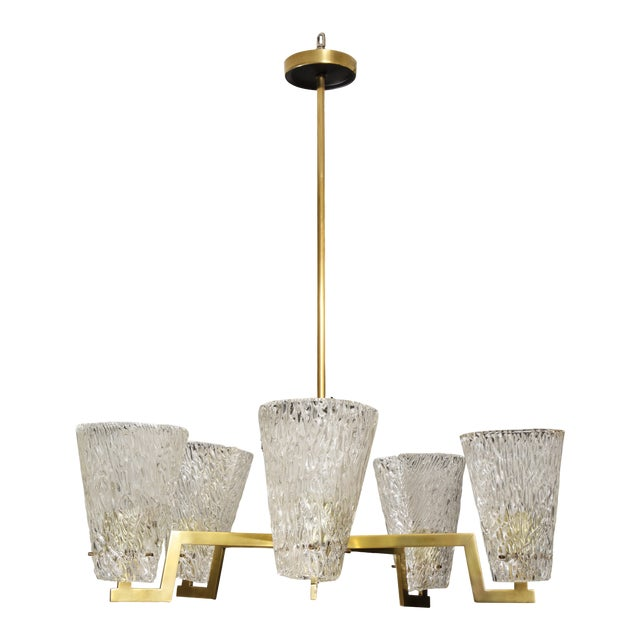 Sculptural Brass and Glass Six-Arm Hanging Light Fixture For Sale