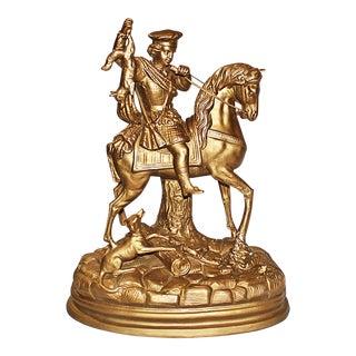 Hollywood Regency Gilded Terracotta Figurine For Sale