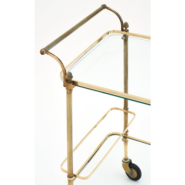 Art Deco French Art Deco Period Brass Bar Cart With Finials For Sale - Image 3 of 10