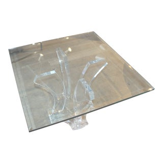 Jeffrey Bigelow Lucite and Glass Coffee Table For Sale