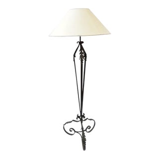 Vintage French Lighting Wrought Iron Floor Lamp For Sale