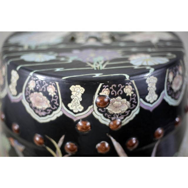 Vintage Black Garden Stool With Cranes and Lotuses For Sale In Tampa - Image 6 of 12