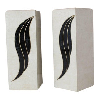 Pair of Tessellated Black and Beige Stone or Tile Brass Inlay Pedestals For Sale