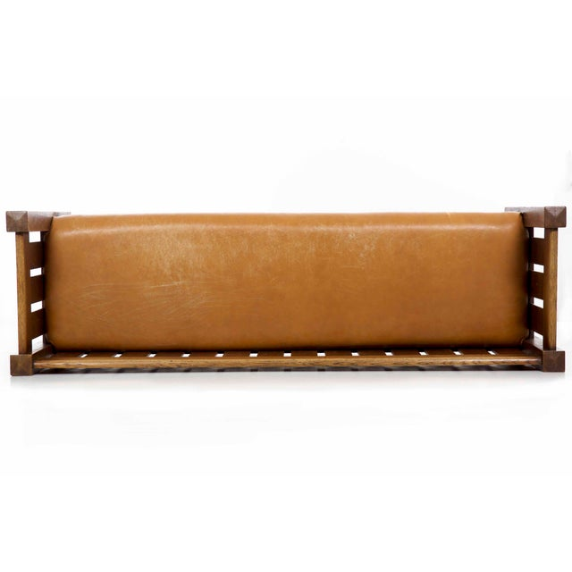 Arts & Crafts Mission Oak and Leather Hall Settle Settee Sofa, Early 20th Century For Sale - Image 9 of 13