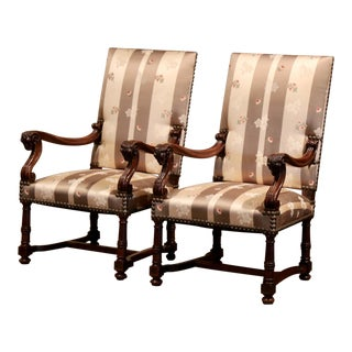 Pair of 19th Century French Louis XIII Carved Walnut Armchairs With Ram Decor For Sale