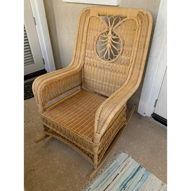 Late 20th Century Ralph Lauren Wicker Rattan Rocking Chairs - Pair For Sale - Image 5 of 10