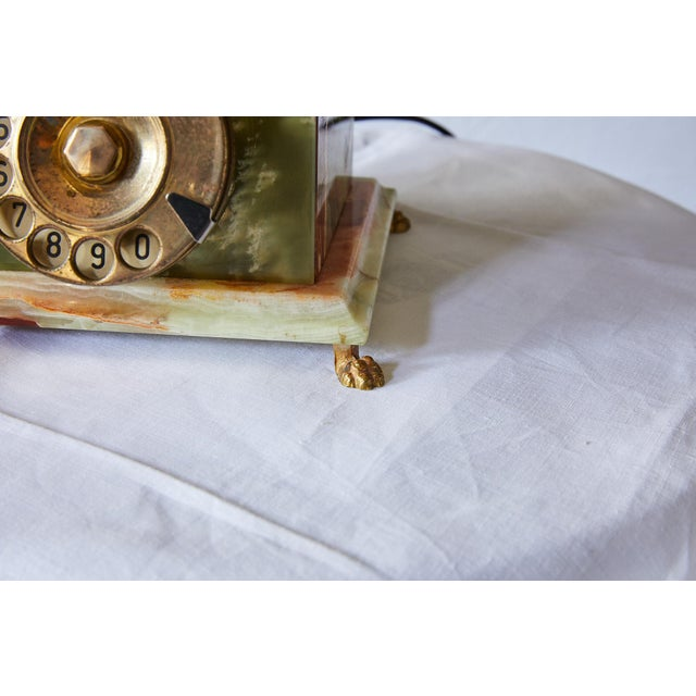Vintage Italian Green Onyx and Gilded Bronze Telephone For Sale - Image 9 of 13