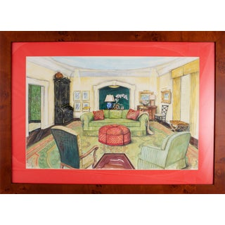 Classic Interior Watercolor Painting For Sale