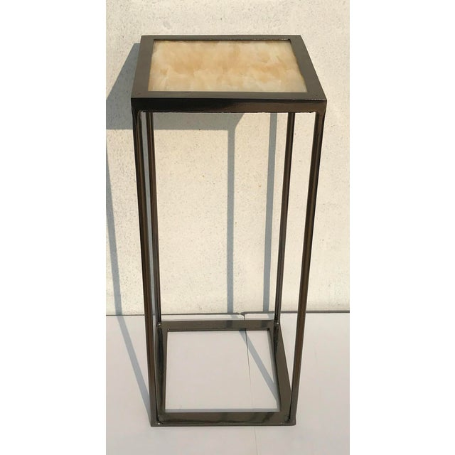Not Yet Made - Made To Order Onxy and Black Nickel Plated Side Table For Sale - Image 5 of 6