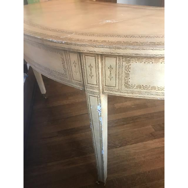 Maitland-Smith French Kidney-Shaped Cream Leather Writing Desk For Sale - Image 9 of 12