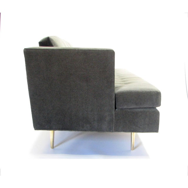 Dunbar Furniture Mid-Century Dunbar Sofa by Edward Wormley in New Velvet Fabric For Sale - Image 4 of 9