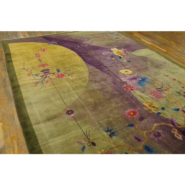 "1920s 1920s Chinese Art Deco Rug - 8'10""x11'4"" For Sale - Image 5 of 7"