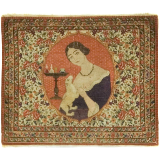 Vintage Persian Pictorial Rug - 2′3″ × 2′8″ - Image 1 of 2