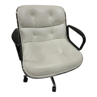 Modern Knoll Pollock White Leather Executive Chair For Sale