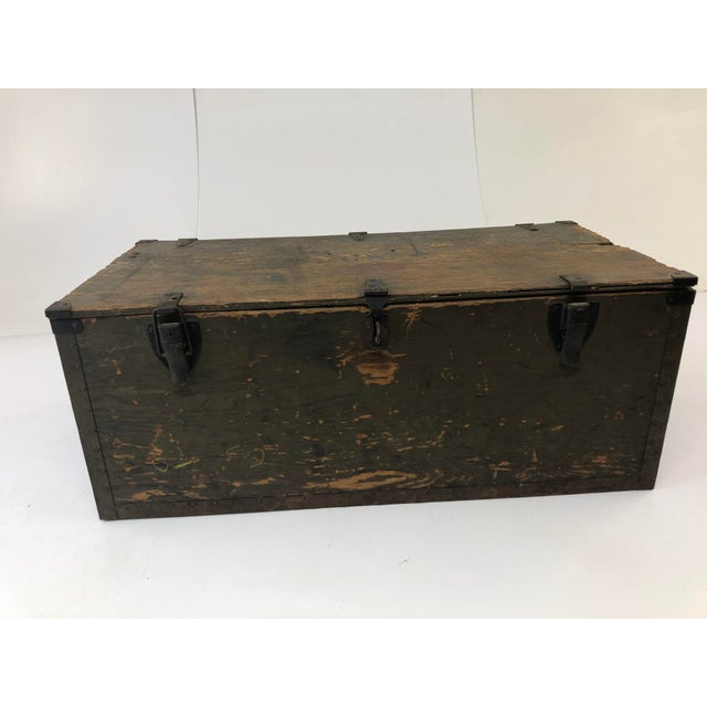 Vintage Military Green Wood Foot Locker Trunk For Sale - Image 12 of 12