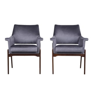 Stylish Modern Rosewood Lounge Chairs Completely Restored For Sale