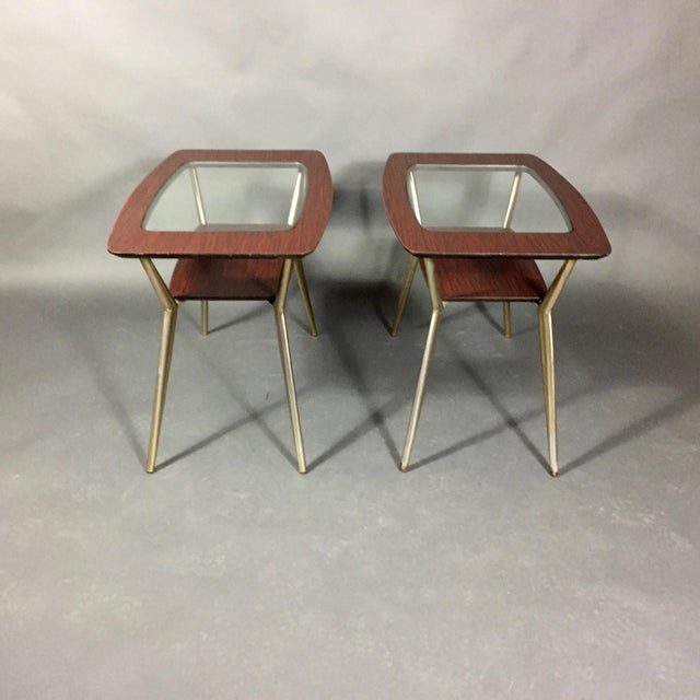 Mid-Century Modern Pair of Atomic Metal and Glass Side Tables, Usa, 1970 For Sale - Image 3 of 10