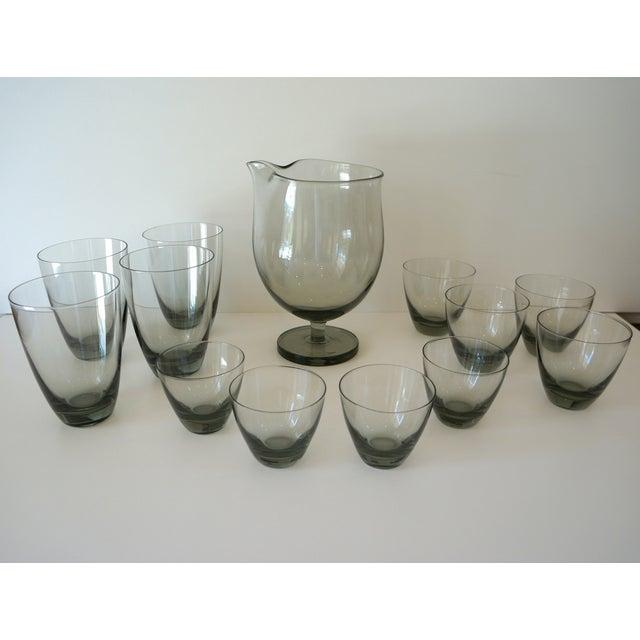 Vintage Holmegaard Smoked Glass Drink Set - Image 2 of 5