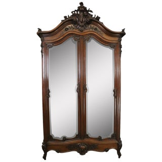 Armoire Antique French Louis XVI Tall 1880 For Sale