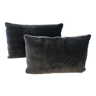 Blue Velvet Lumbar Pillows - A Pair