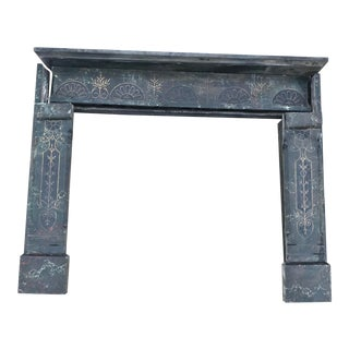 Antique Late Victorian Welsh Slate Marble Finish Mantel Fireplace For Sale