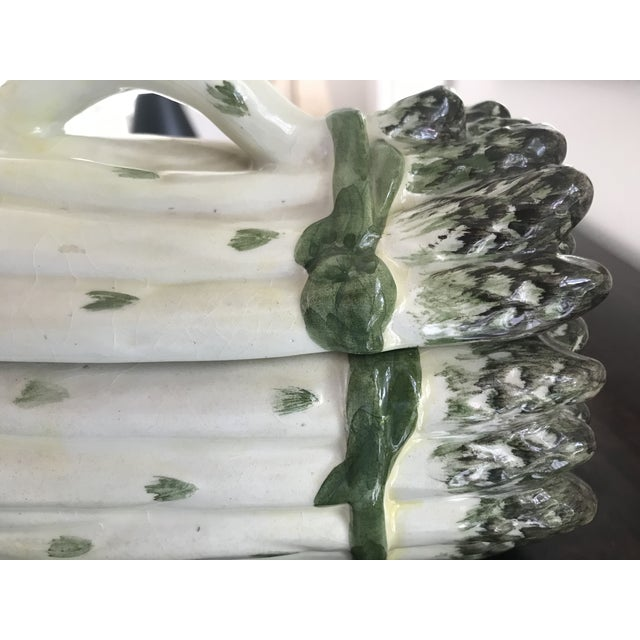 Green Vintage Majolica White and Green Asparagus Tureen For Sale - Image 8 of 13