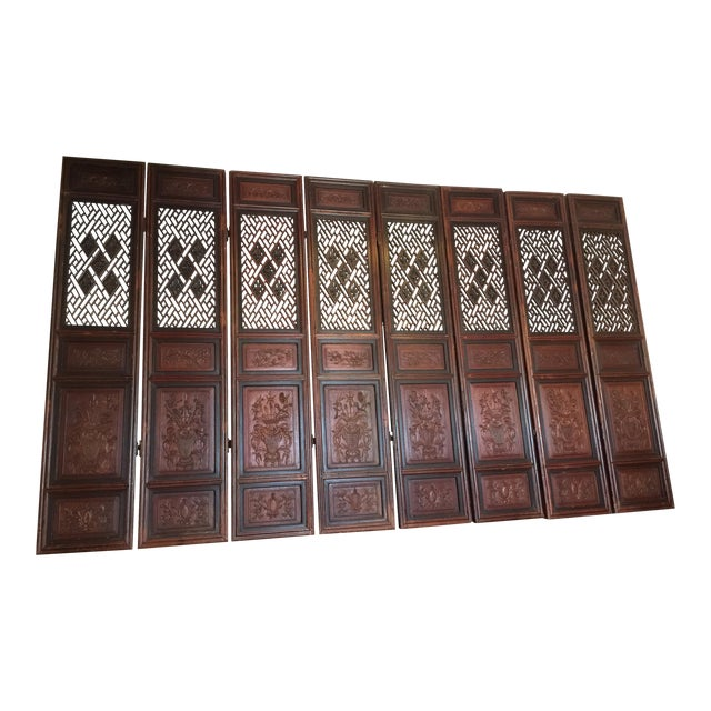 Antique Chinese Carved Wood Doors - Set of 4 For Sale